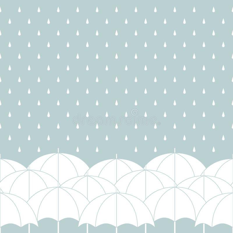 Белые зонтики на сером цвете с падениями дождя, безшовной границе, векторе иллюстрация вектора