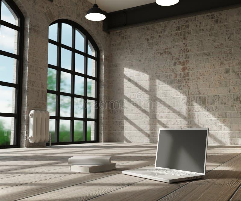Белые интерьер и компьютер бесплатная иллюстрация
