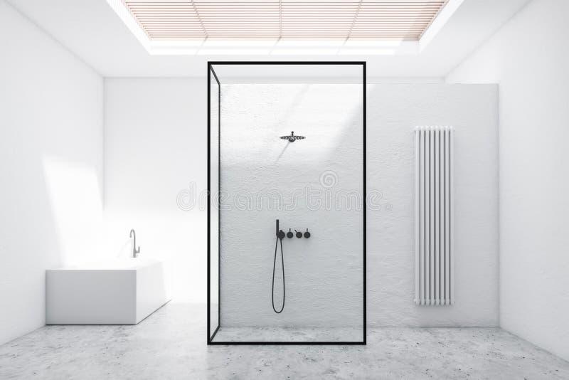 Белые интерьер, ливень и ушат bathroom иллюстрация вектора