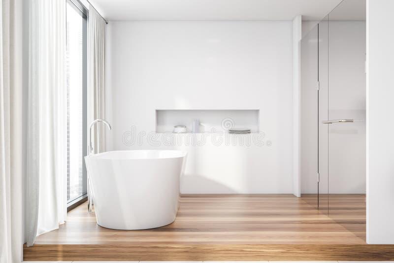 Белые интерьер, ушат и ливень bathroom иллюстрация вектора