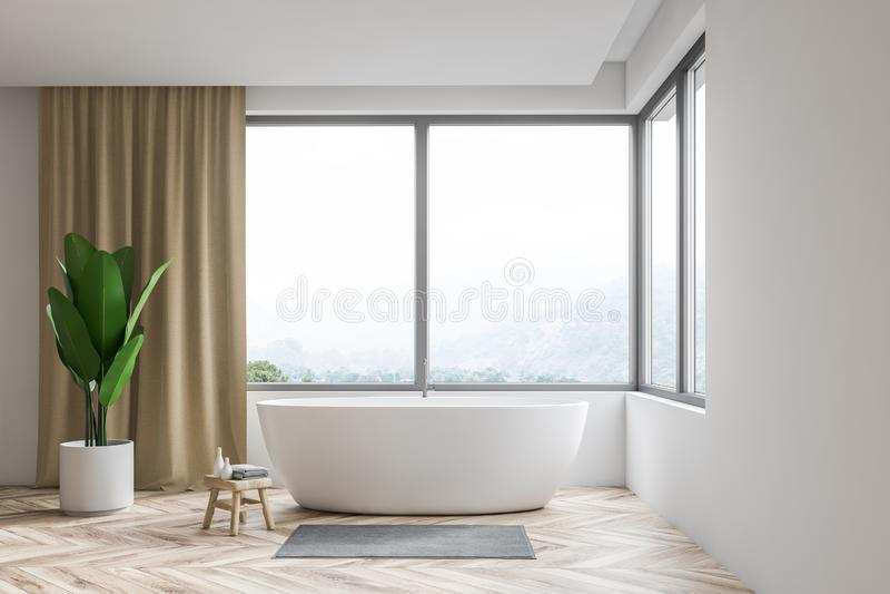 Белые интерьер, ушат и окно bathroom иллюстрация вектора