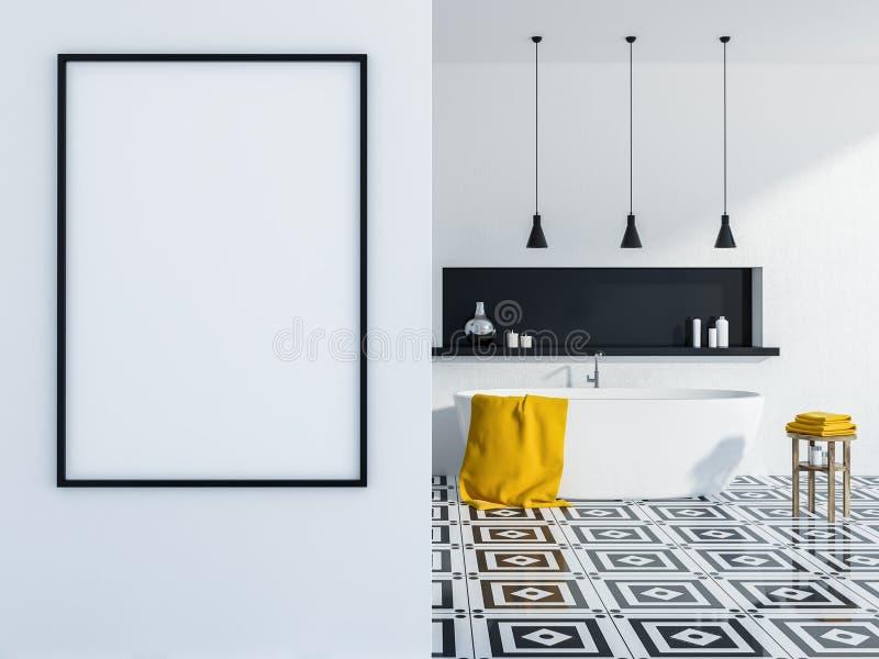 Белые интерьер, ушат и плакат ванной комнаты иллюстрация штока