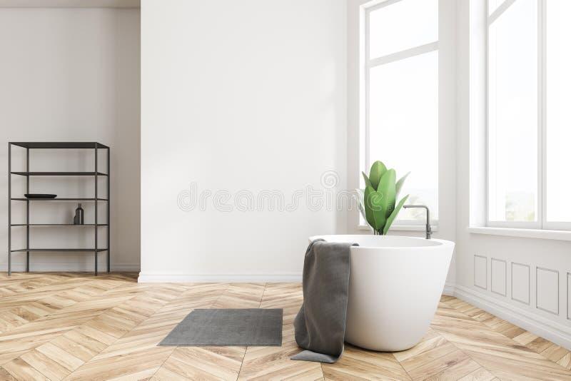 Белые интерьер, ушат и полки ванной комнаты иллюстрация штока