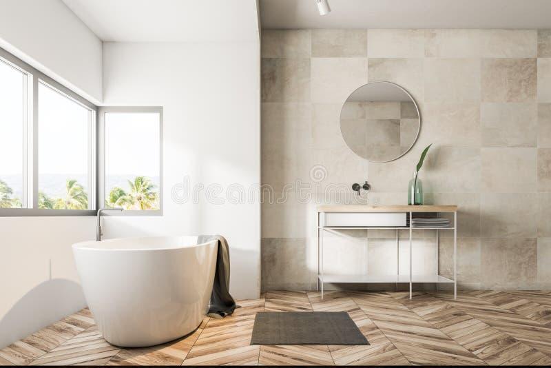 Белые интерьер, ушат и раковина ванной комнаты плитки бесплатная иллюстрация