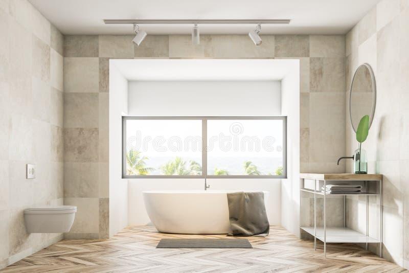 Белые интерьер, ушат и раковина ванной комнаты бесплатная иллюстрация