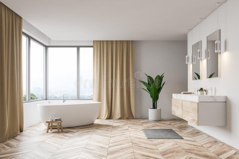 Белые интерьер, ушат и раковина ванной комнаты иллюстрация штока