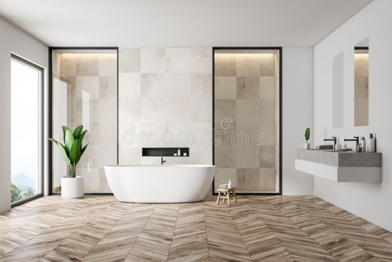 Белые интерьер, ушат и раковина bathrom плитки иллюстрация штока