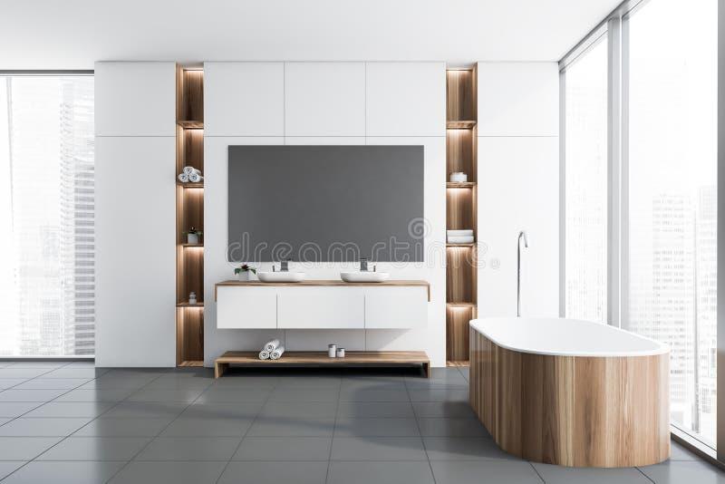 Белые интерьер, ушат и раковина bathroom просторной квартиры иллюстрация штока