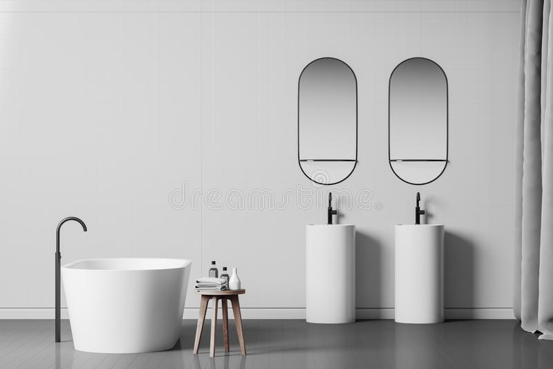 Белые интерьер, ушат и раковины bathroom иллюстрация штока