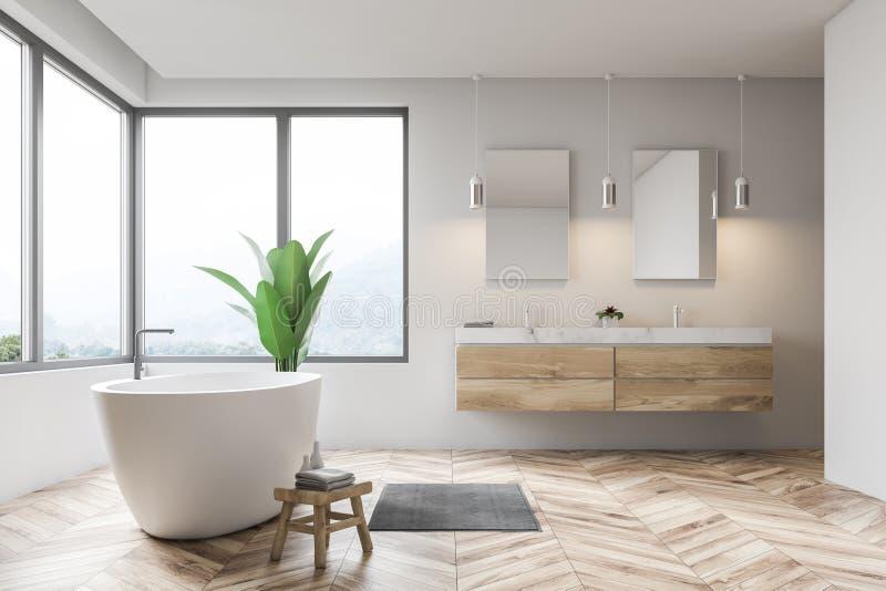 Белые интерьер bathroom, ушат и взгляд со стороны раковины иллюстрация вектора