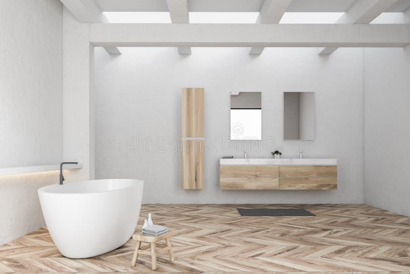 Белые интерьер bathroom, ушат и взгляд со стороны раковины иллюстрация штока