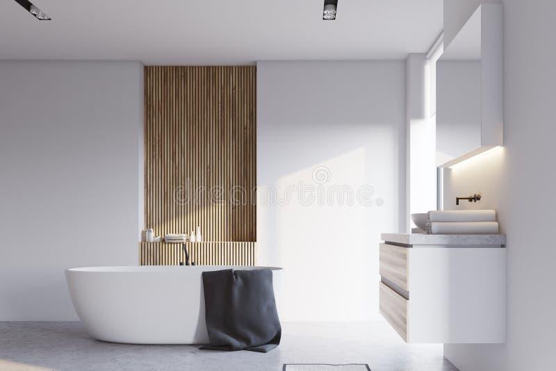 Белые и деревянные ванная комната, раковина и ушат иллюстрация вектора