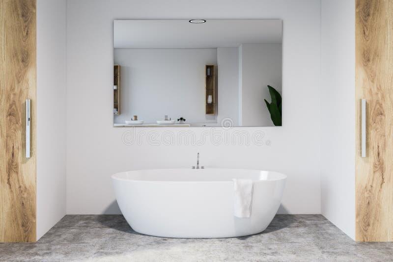 Белые и деревянные интерьер ванной комнаты, ушат и зеркало бесплатная иллюстрация