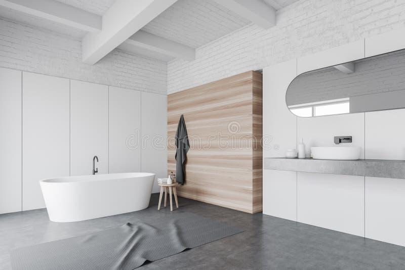 Белые и деревянные угол bathroom, раковина и ушат иллюстрация вектора