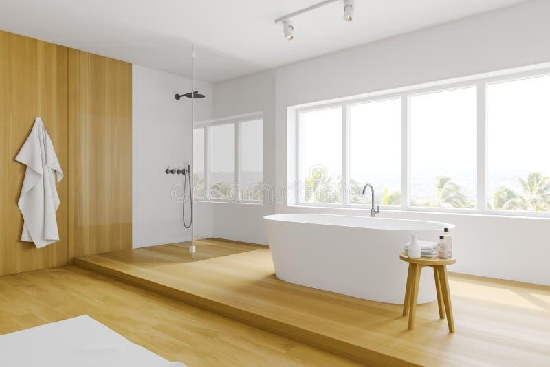 Белые и деревянные угол bathroom, ушат и ливень иллюстрация штока