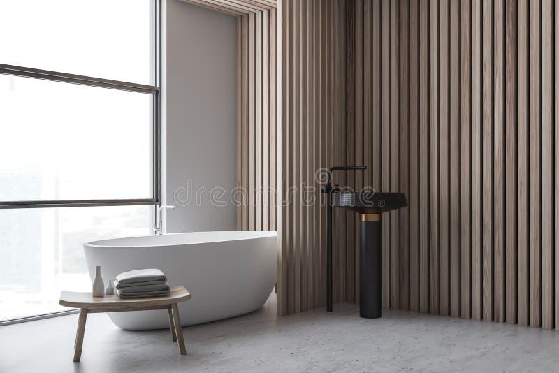 Белые и деревянные угол bathroom, ушат и раковина иллюстрация вектора