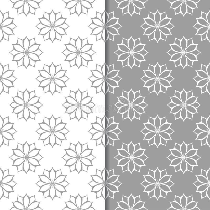 Белые и серые флористические предпосылки делает по образцу безшовный комплект иллюстрация вектора