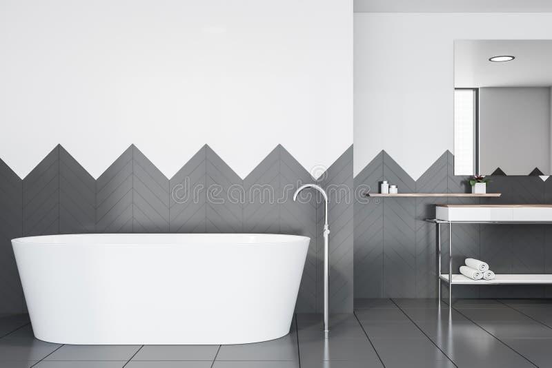 Белые и серые bathroom плитки, раковина и ушат бесплатная иллюстрация