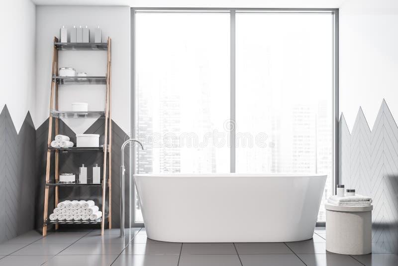 Белые и серые bathroom плитки, ушат и полки иллюстрация вектора