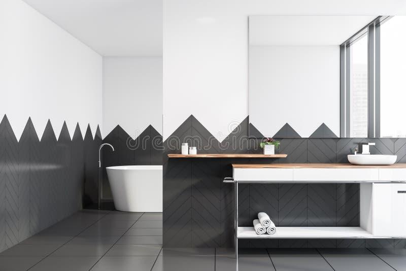 Белые и серые bathroom плитки, ушат и раковина иллюстрация вектора