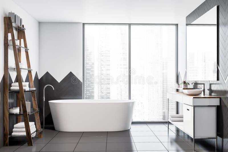 Белые и серые bathroom просторной квартиры, ушат и раковина бесплатная иллюстрация