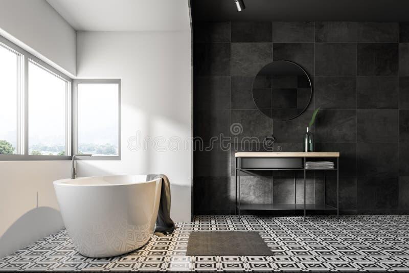 Белые и черные интерьер ванной комнаты, ушат и раковина иллюстрация штока