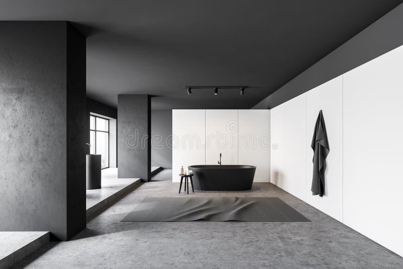 Белые и черные интерьер bathroom, ушат и раковина иллюстрация вектора