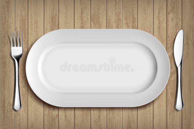 Белые керамические плита, вилка и нож на деревянном столе Backgr меню бесплатная иллюстрация
