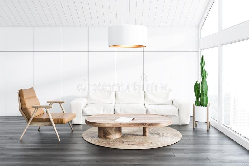 Белые комната прожития чердака, софа и кресло иллюстрация штока