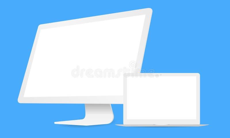 Белые компьютер и компьтер-книжка бесплатная иллюстрация