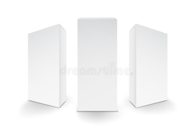 Белые коробки, пакет, 3d коробка, оформление изделия, иллюстрация вектора иллюстрация вектора