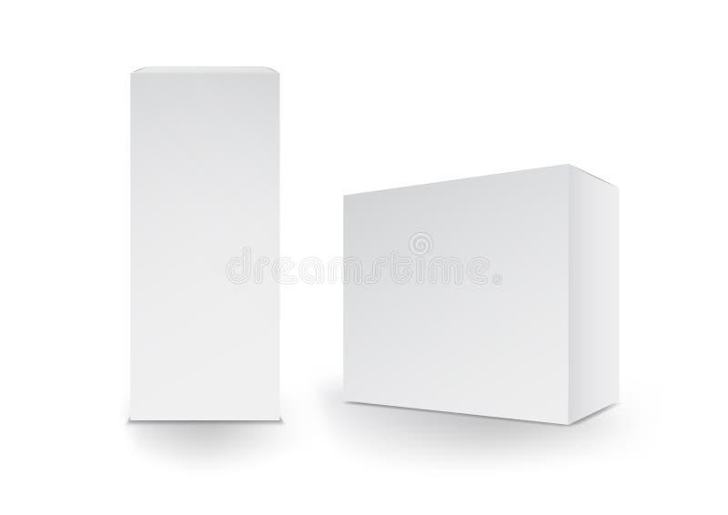Белые коробки, пакет, 3d коробка, оформление изделия, иллюстрация вектора иллюстрация штока
