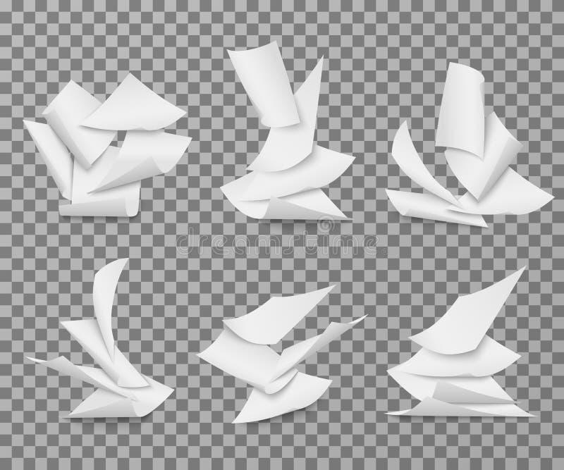 Белые листы летая чистого листа бумаги Куча комплекта вектора страниц документа иллюстрация вектора