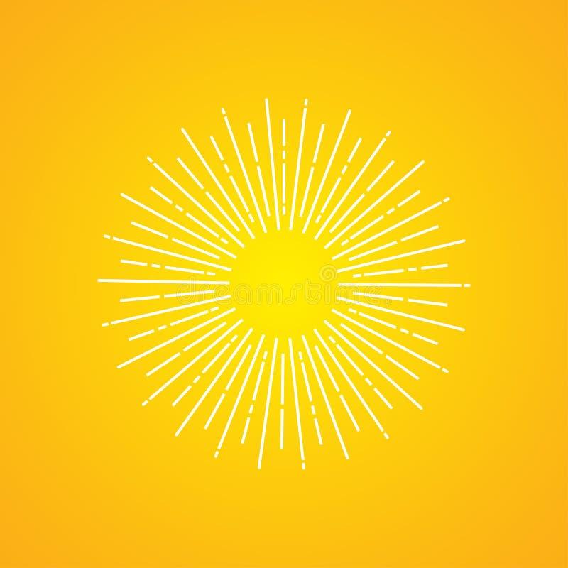 Белые лучи солнца на желтой предпосылке градиента значок вектора лучей солнца иллюстрация вектора