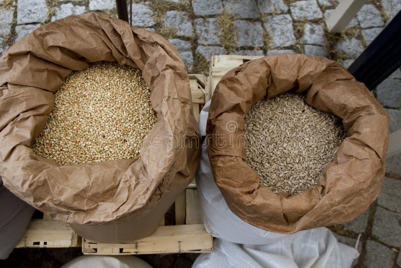 Белые мешки вполне с нутами, фасолями, гречихой, пшеном, пшеницей, сказали по буквам, чечевицы, зерна пшеницы Einkorn Разнообрази стоковая фотография