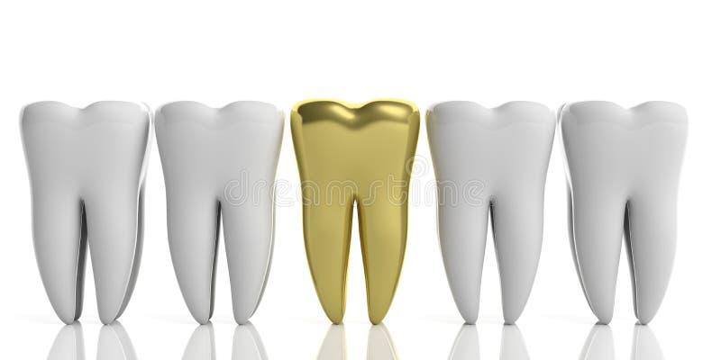 Белые модели зуба и одно золото изолированные на белой предпосылке иллюстрация 3d иллюстрация вектора