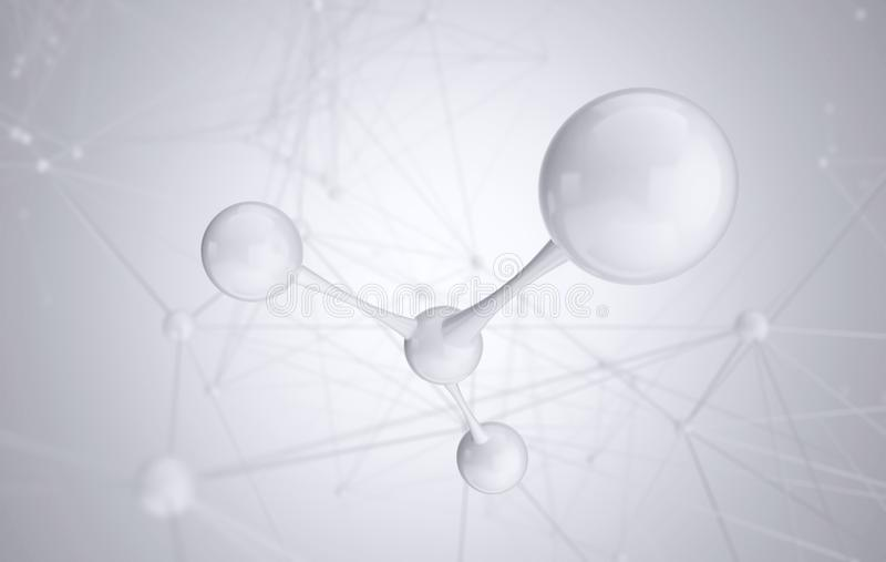 Белые молекула или атом, абстрактная чистая структура для науки или медицинская предпосылка иллюстрация вектора