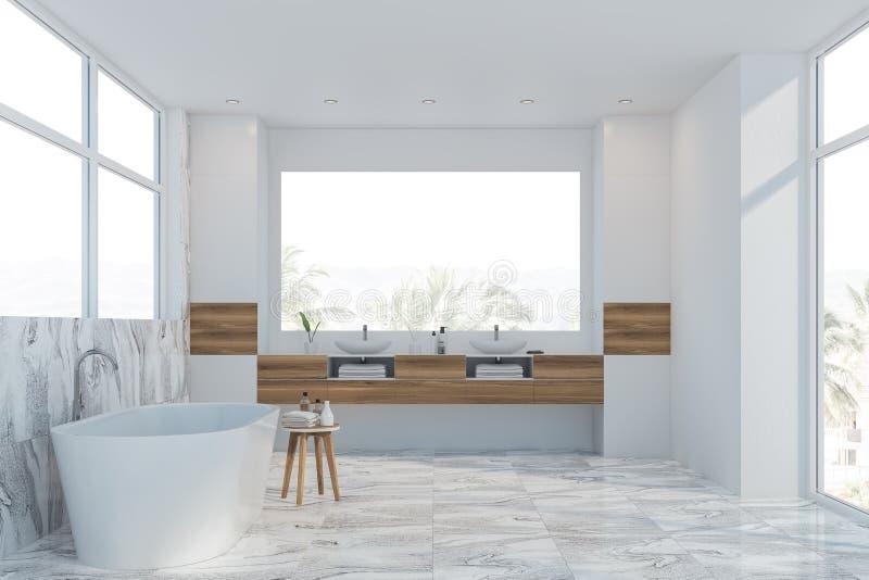 Белые мраморные интерьер, ушат и раковина bathroom иллюстрация вектора