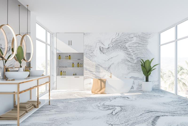 Белые мраморные интерьер, ушат и раковина bathroom иллюстрация штока