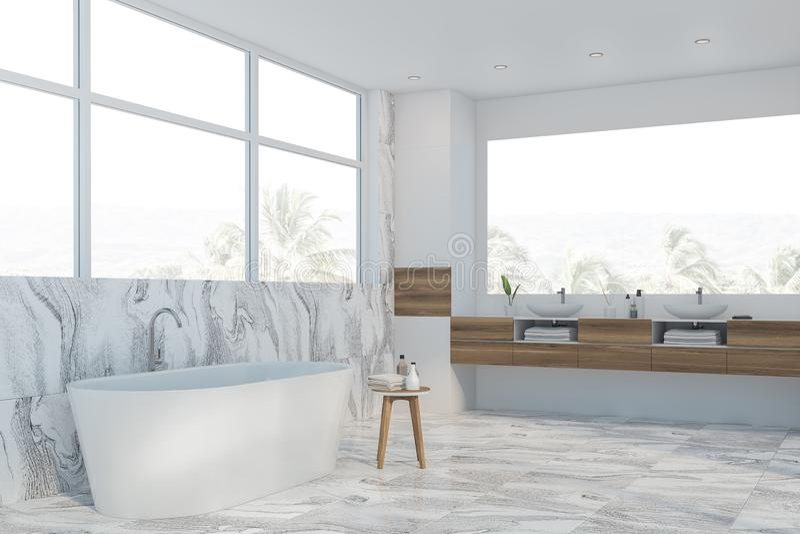 Белые мраморные угол, ушат и раковина bathroom бесплатная иллюстрация