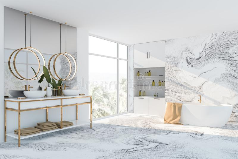 Белые мраморные угол, ушат и раковина bathroom иллюстрация штока