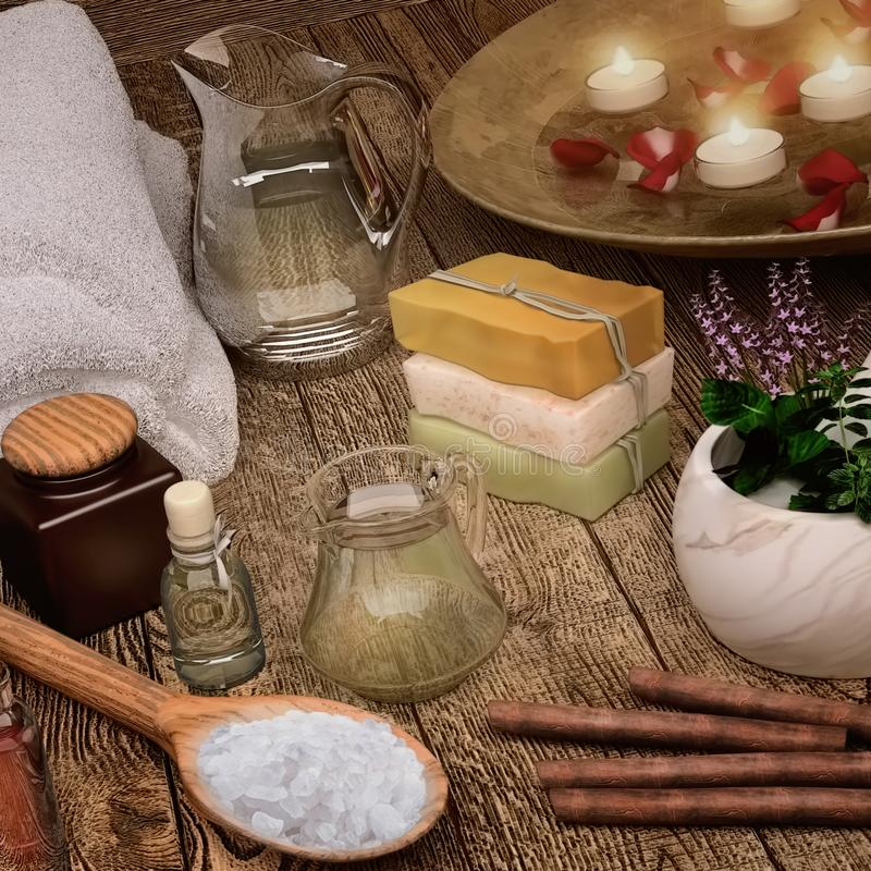 Белые мягкие полотенца курорта и продукты курорта с свечами стоковые фотографии rf