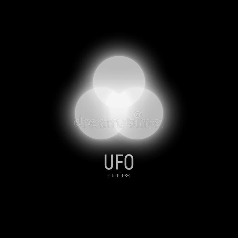 Белые накаляя круги регулярн формы в небе, иллюстрации вектора, округлых форм нерезкости Зарево в небе, иллюстрация вектора