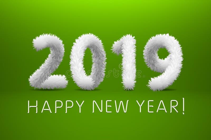 Белые Новый Год шерстей 2019 счастливый Зеленая предпосылка также вектор иллюстрации притяжки corel иллюстрация вектора