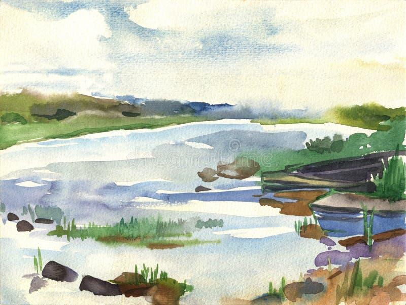 Белые ночи, шлюпки на озере среди озера камней иллюстрация вектора