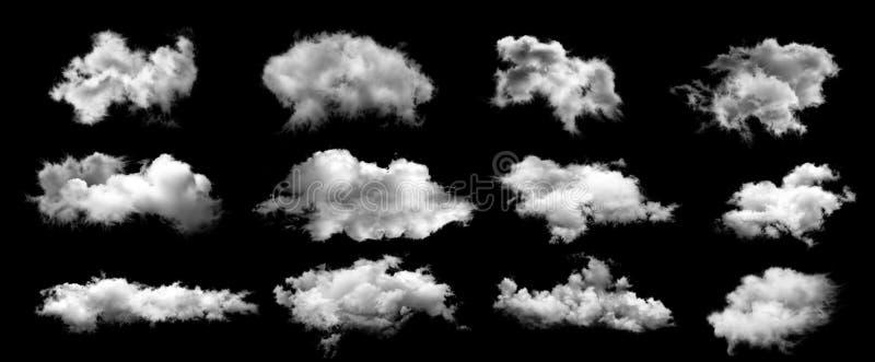 Белые облака, изолированные на черном фоне стоковые изображения rf