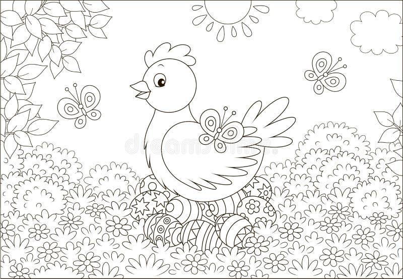 Белые пасхальные яйца курицы и иллюстрация вектора