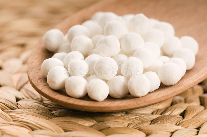 Белые перлы тапиоки стоковые фото