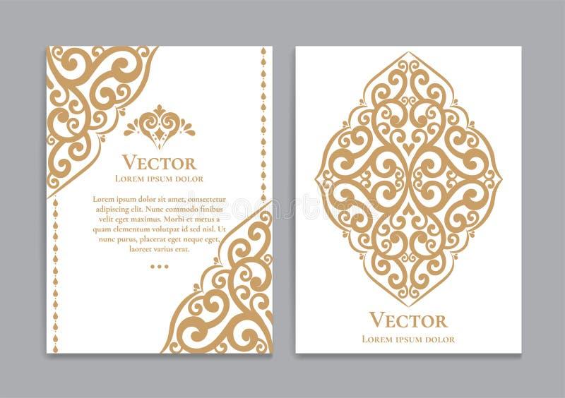 Белые поздравительные открытки с золотыми королевскими орнаментами иллюстрация вектора