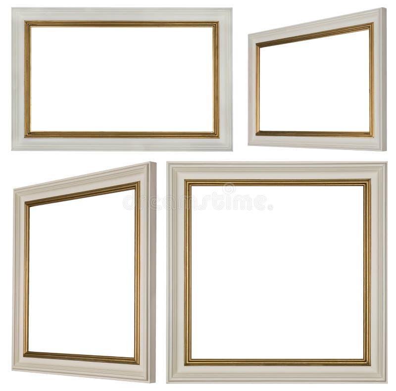 Белые прямоугольные и квадратные картинные рамки иллюстрация штока